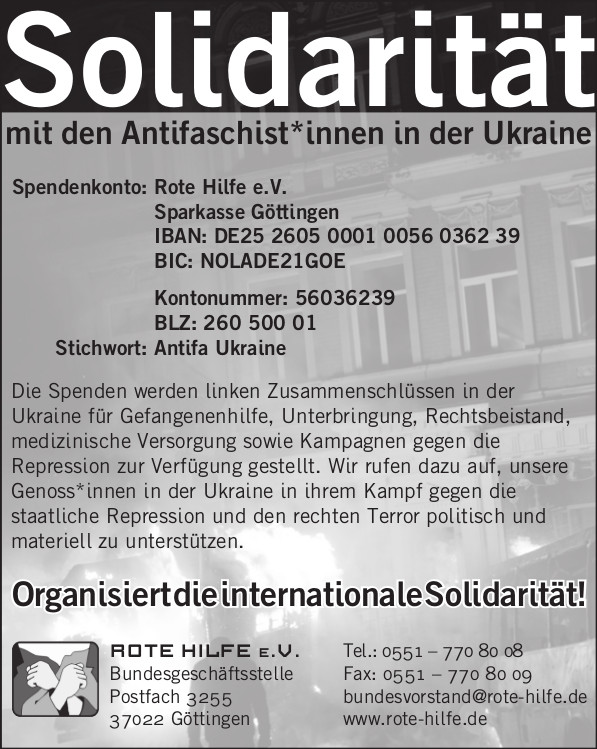 Internationale Solidarität mit den Antifaschistinnen und Antifaschisten in der Ukraine