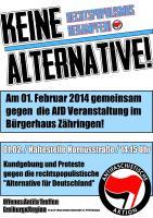 """Gemeinsam am 1. Februar gegen die Veranstaltung der """"AfD"""" in Freiburg-Zähringen!"""