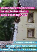 """Demonstration """"Bezahlbarer Wohnraum ist die halbe Miete – Eine Stadt für Alle"""""""