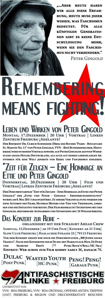 Remembering means fighting – antifaschistische Gedenk- & Veranstaltungsreihe im Dezember