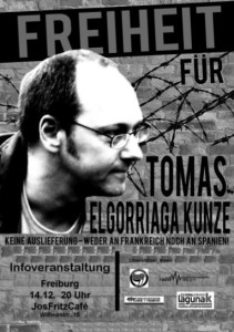 Veranstaltung: Freiheit für Tomas Elgorriaga Kunze – 14.12 ab 20 Uhr im Jos Fritz Cafe in Freiburg